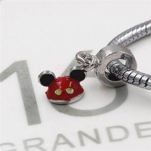 Jewelry - Mickey Mouse 925 Silver Plate Jewelry Enamel Charm